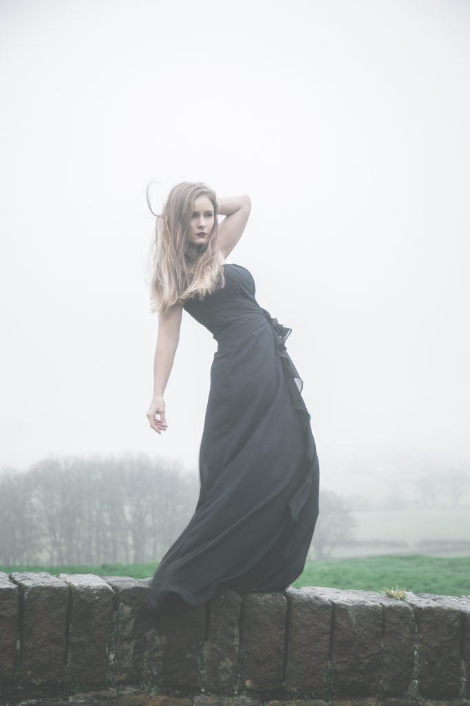 Loretta-Hope-Model-location-outdoors-juxtaposition-ball-gown-party-dress-fashion-adverse-weather-fog-northern-modelling-photo-shoot-Sorrel-Price-photographer-Editorial-Commercial-modelling