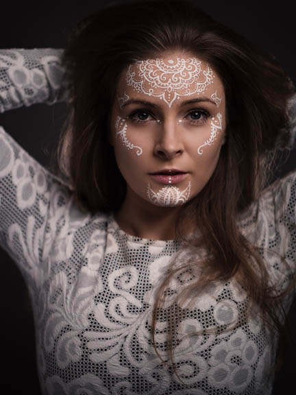 Loretta-Hope-fashion-model-Birmingham-West-Midlands-London-facepaint-theatrical-makeup-beauty-headshot-photography-modelling-James-Westlake-ornate-henna-art